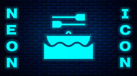 Glowing neon Boat with oars icon isolated on brick wall background. Water sports, extreme sports, holiday, vacation, team building. Vector