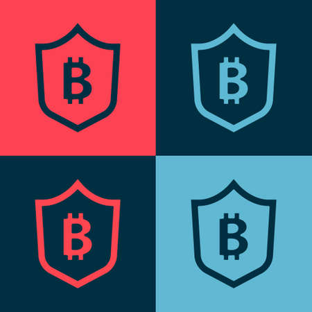 Pop art Shield with bitcoin icon isolated on color background. Cryptocurrency mining, blockchain technology, security, protect, digital money. Vector