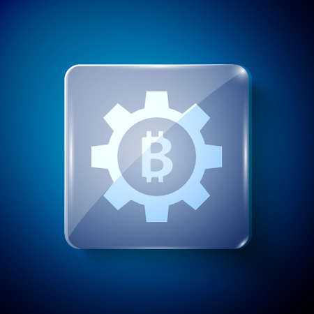 White Cryptocurrency coin Bitcoin icon isolated on blue background. Gear and Bitcoin setting. Blockchain based secure crypto currency. Square glass panels. Vector Illustration