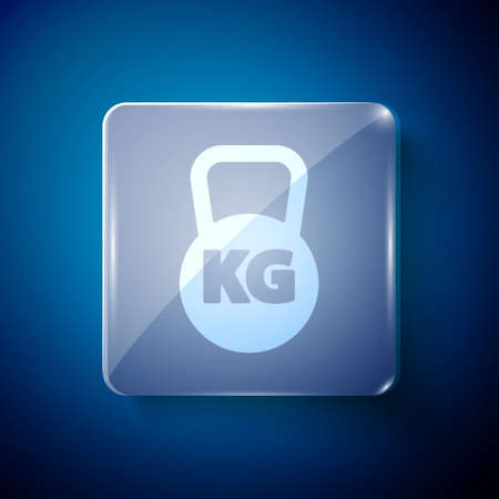 White Kettlebell icon isolated on blue background. Sport equipment. Square glass panels. Vector