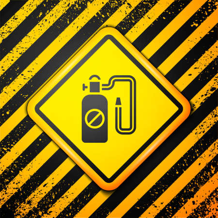 Black Pressure sprayer for extermination of insects icon isolated on yellow background. Pest control service. Disinfectant sprayer. Warning sign. Vector