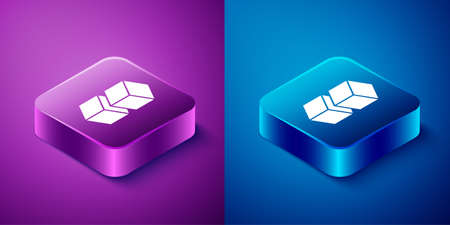 Isometric Blockchain technology icon isolated on blue and purple background. Cryptocurrency data. Abstract geometric block chain network technology business. Square button. Vector Illustration