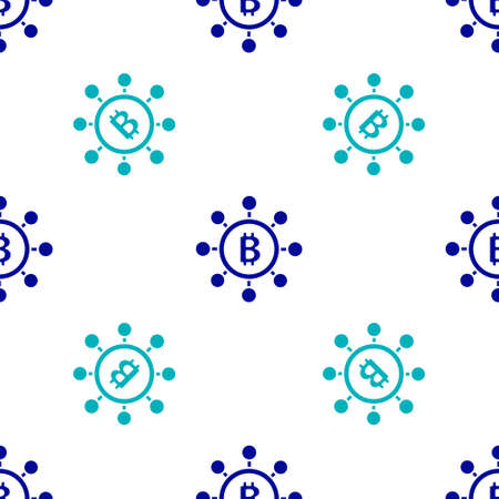 Blue Blockchain technology Bitcoin icon isolated seamless pattern on white background. Abstract geometric block chain network technology business. Vector Illustration