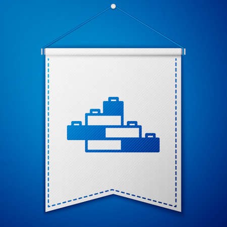 Blue Toy building block bricks for children icon isolated on blue background. White pennant template. Vector