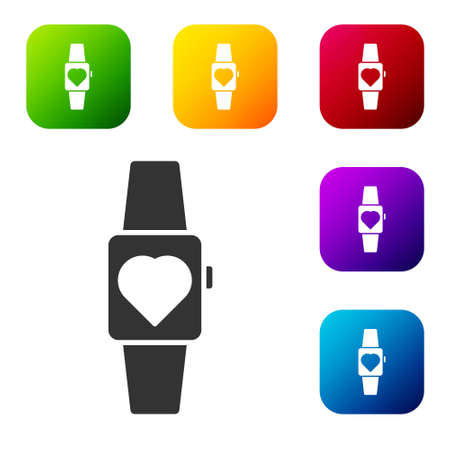 Black Smartwatch icon isolated on white background. Set icons in color square buttons. Vector