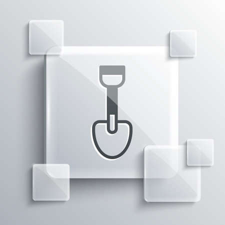 Grey Shovel toy icon isolated on grey background. Square glass panels. Vector