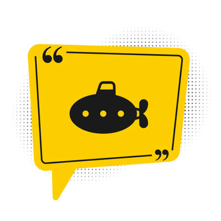 Black Submarine toy icon isolated on white background. Yellow speech bubble symbol. Vector