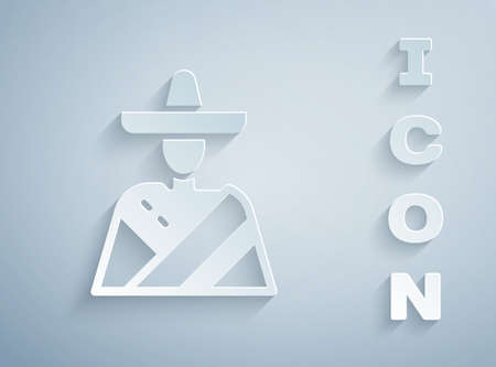 Paper cut Mexican man wearing sombrero icon isolated on grey background. Hispanic man with a mustache. Paper art style. Vector