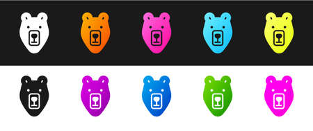Set Bear head icon isolated on black and white background. Vector Illustration
