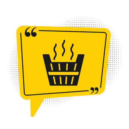 Black Sauna bucket icon isolated on white background. Yellow speech bubble symbol. Vector Stock Illustratie