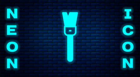 Glowing neon Paint brush icon isolated on brick wall background. For the artist or for archaeologists and cleaning during excavations. Vector