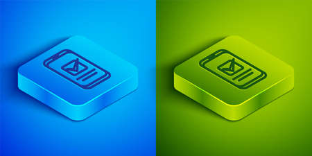 Isometric line Smartphone, mobile phone icon isolated on blue and green background. Square button. Vector