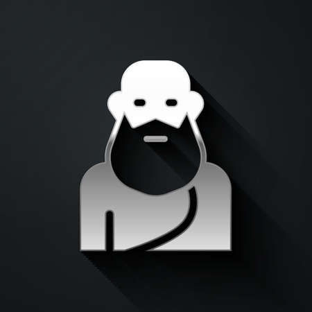 Silver Socrates icon isolated on black background. Sokrat ancient greek Athenes ancient philosophy. Long shadow style. Vector