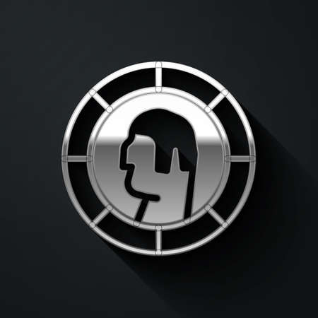 Silver Ancient Greek coin icon isolated on black background. Long shadow style. Vector Vettoriali