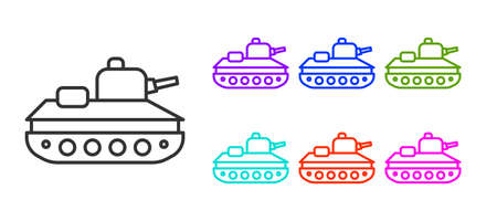 Black line Military tank icon isolated on white background. Set icons colorful. Vector