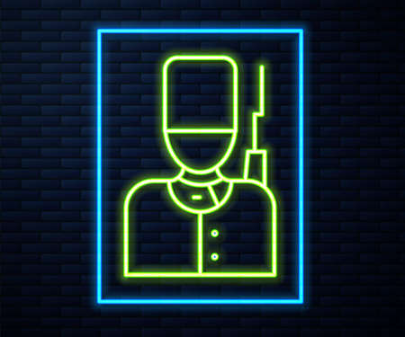 Glowing neon line British guardsman with bearskin hat marching icon isolated on brick wall background. Vector