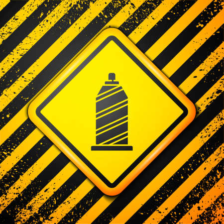 Black Sewing thread on spool icon isolated on yellow background. Yarn spool. Thread bobbin. Warning sign. Vector Illustration