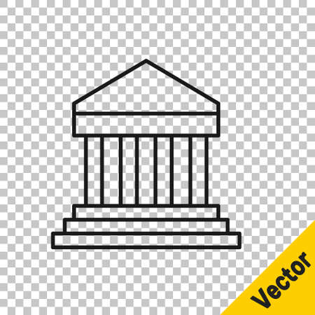 Black line Parthenon from Athens, Acropolis, Greece icon isolated on transparent background. Greek ancient national landmark. Vector