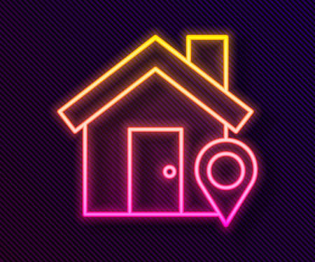 Glowing neon line Map pointer with house icon isolated on black background. Home location marker symbol. Vector Illustration