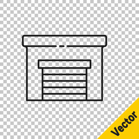 Black line Garage icon isolated on transparent background. Vector Illustration