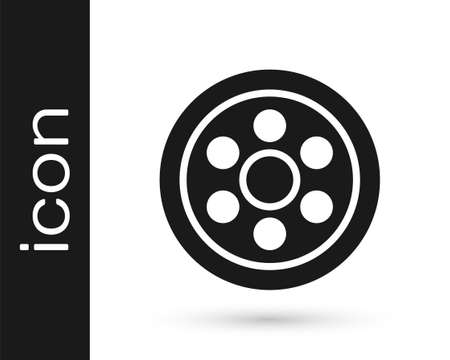 Grey Alloy wheel for a car icon isolated on white background. Vector Illustration