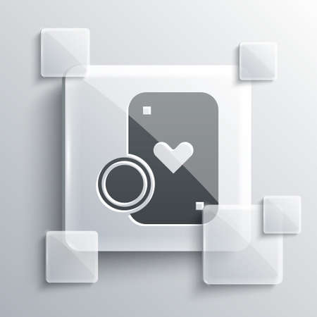 Grey Casino chip and playing cards icon isolated on grey background. Casino poker. Square glass panels. Vector Illustration