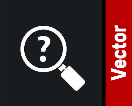 White Unknown search icon isolated on black background. Magnifying glass and question mark. Vector Illustration