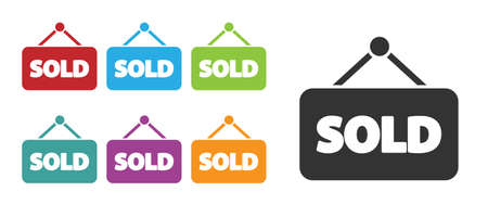 Black Hanging sign with text Sold icon isolated on white background. Sold sticker. Sold signboard. Set icons colorful. Vector Illustration Vector Illustration