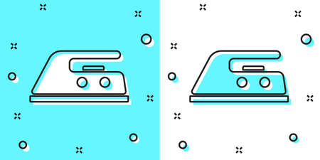 Black line Electric iron icon isolated on green and white background. Steam iron. Random dynamic shapes. Vector Illustration