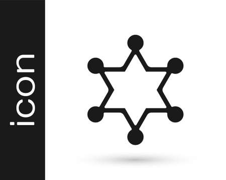 Black Hexagram sheriff icon isolated on white background. Police badge icon. Vector