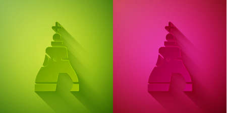 Paper cut The Tsar bell in Moscow monument icon isolated on green and pink background. Paper art style. Vector