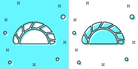 Black line Dumpling icon isolated on green and white background. Traditional chinese dish. Random dynamic shapes. Vector Çizim