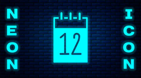 Glowing neon Calendar 12 june icon isolated on brick wall background. Russian language 12 june Happy Russia Day. Vector