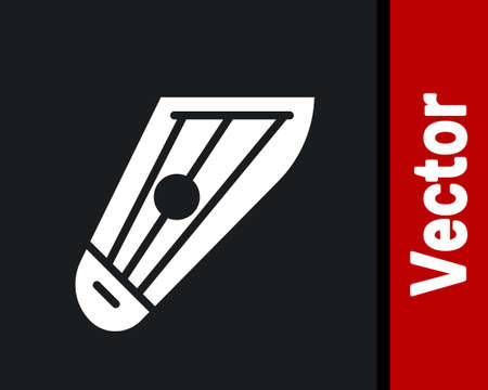White Musical instrument kankles icon isolated on black background. Vector Çizim
