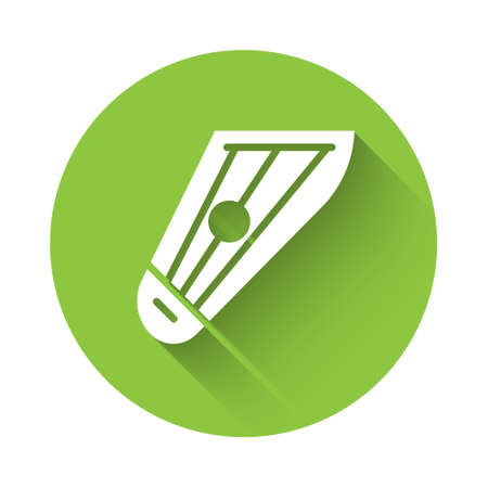 White Musical instrument kankles icon isolated with long shadow. Green circle button. Vector
