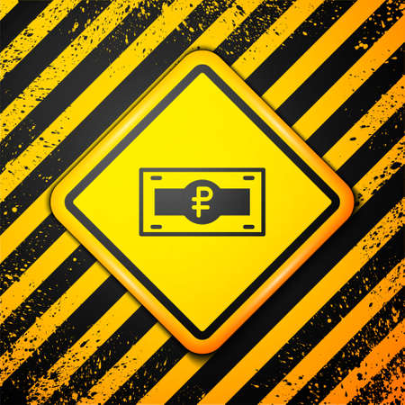 Black Russian ruble banknote icon isolated on yellow background. Warning sign. Vector