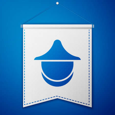 Blue Beekeeper with protect hat icon isolated on blue background. Special protective uniform. White pennant template. Vector