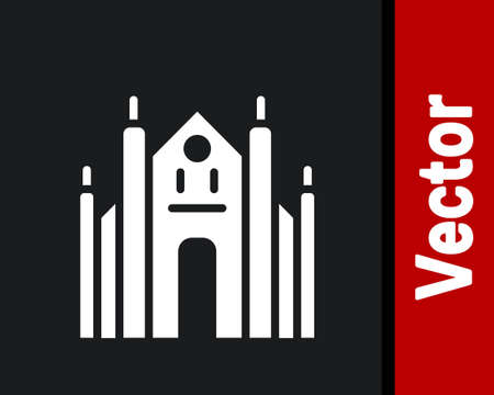 White Milan Cathedral or Duomo di Milano icon isolated on black background. Famous landmark of Milan, Italy. Vector 矢量图像