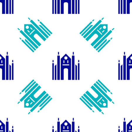 Blue Milan Cathedral or Duomo di Milano icon isolated seamless pattern on white background. Famous landmark of Milan, Italy. Vector