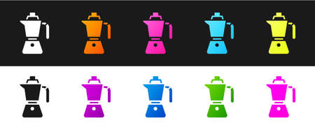 Set Coffee maker moca pot icon isolated on black and white background. Vector