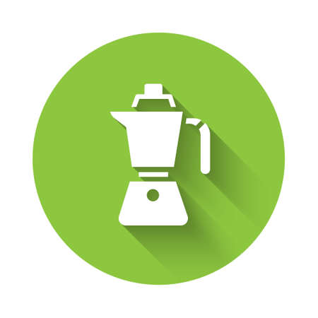 White Coffee maker moca pot icon isolated with long shadow. Green circle button. Vector