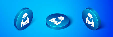Isometric Socrates icon isolated on blue background. Sokrat ancient greek Athenes ancient philosophy. Blue circle button. Vector Çizim