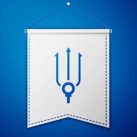 Blue Neptune Trident icon isolated on blue background. White pennant template. Vector