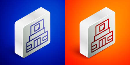 Isometric line Mausoleum of Lenin icon isolated on blue and orange background. Russia architecture landmarks, sightseeing places. Royal Citadel at Red Square, Moscow. Silver square button. Vector