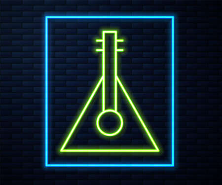 Glowing neon line Musical instrument balalaika icon isolated on brick wall background. Vector Çizim