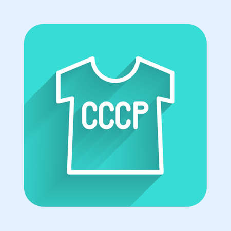 White line USSR t-shirt icon isolated with long shadow. Green square button. Vector Çizim