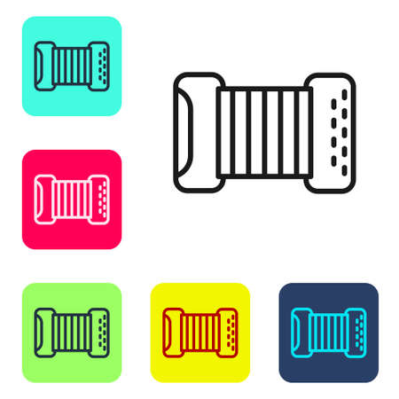 Black line Musical instrument accordion icon isolated on white background. Classical bayan, harmonic. Set icons in color square buttons. Vector Çizim