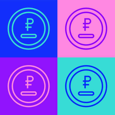 Pop art line Rouble, ruble currency coin icon isolated on color background. Russian symbol. Vector