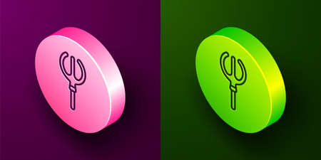 Isometric line Neptune Trident icon isolated on purple and green background. Circle button. Vector