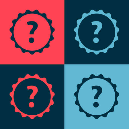 Pop art Question mark icon isolated on color background. FAQ sign. Copy files, chat speech bubble and chart. Vector Illustration